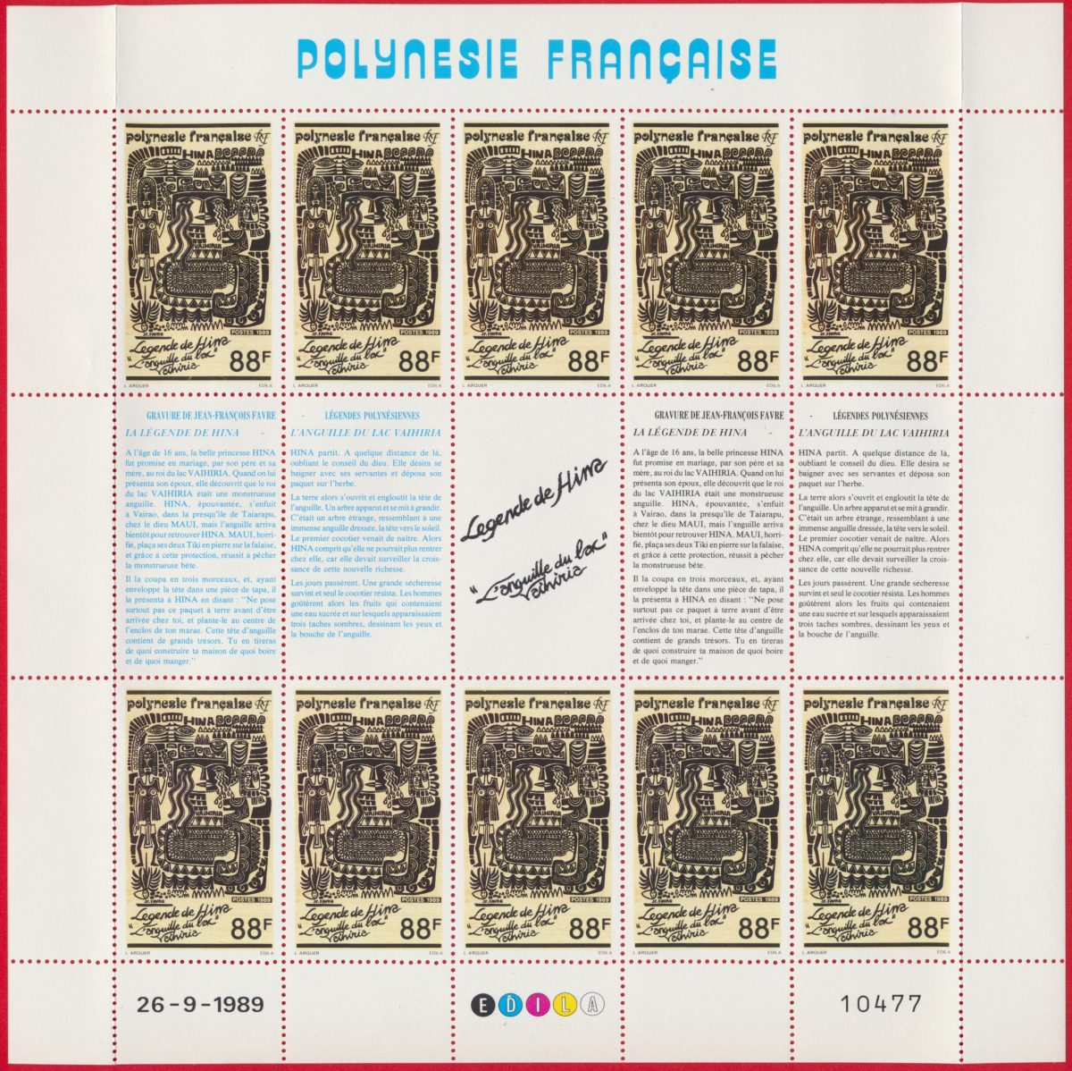 bloc-polynesie-francaise-26-9-1989-88-francs-legende-hima-anguille-lac