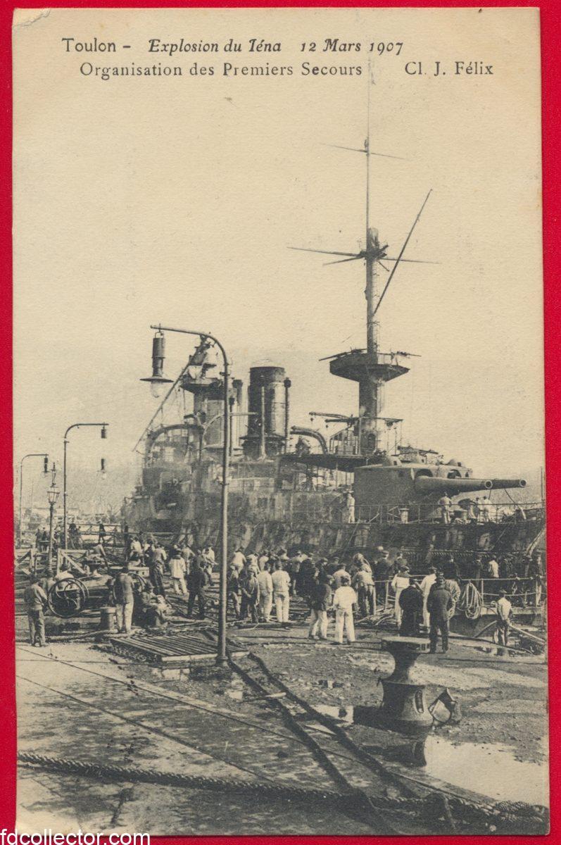 cpa-toulon-explosion-iena-12-lars-1907-organisation-premiers-secours