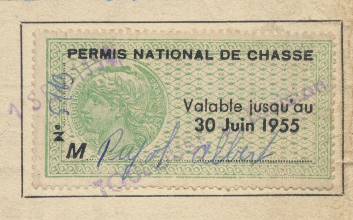 fiscal-fiscaux-permis-national-chasse-1955-vs