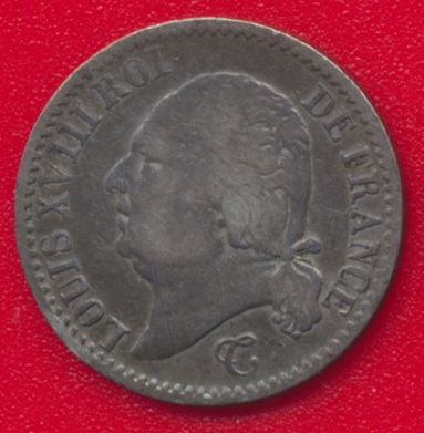 louis-xviii-1817-b-rouen-quart-franc-vs