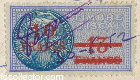 timbre-fiscal-surcharge-10-francs-sur-13-confection-toiles-vacheyran-montfavet-vaucluse-1952-vs1
