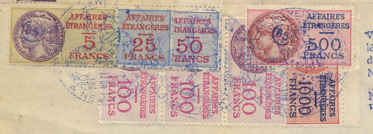 timbres-fiscal-revenue-fiscaux-affaires-etrangeres-5-25-50-10-500-1000-francs-vs