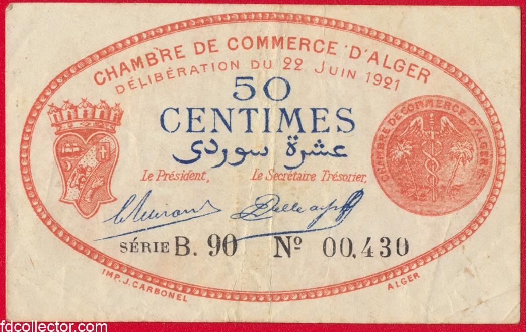 Algerie 50 centimes chambre de commerce d 39 alger 1921 for Chambre de commerce essonne