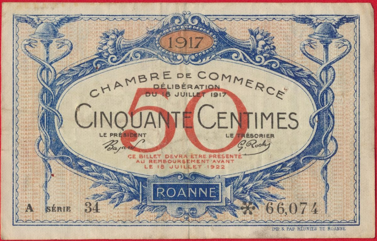 Roanne 50 centimes 1917 fdcollector - Chambre du commerce roanne ...
