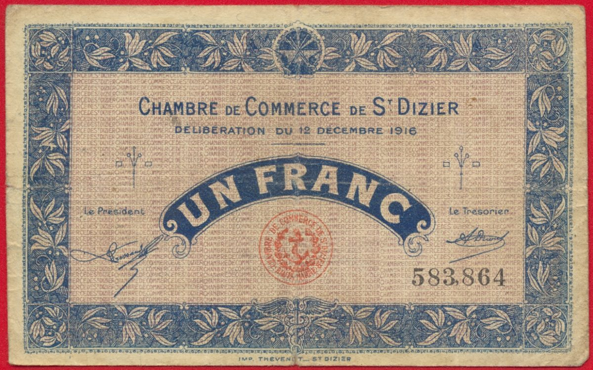 Saint dizier un franc 1916 fdcollector for Chambre de commerce guadeloupe