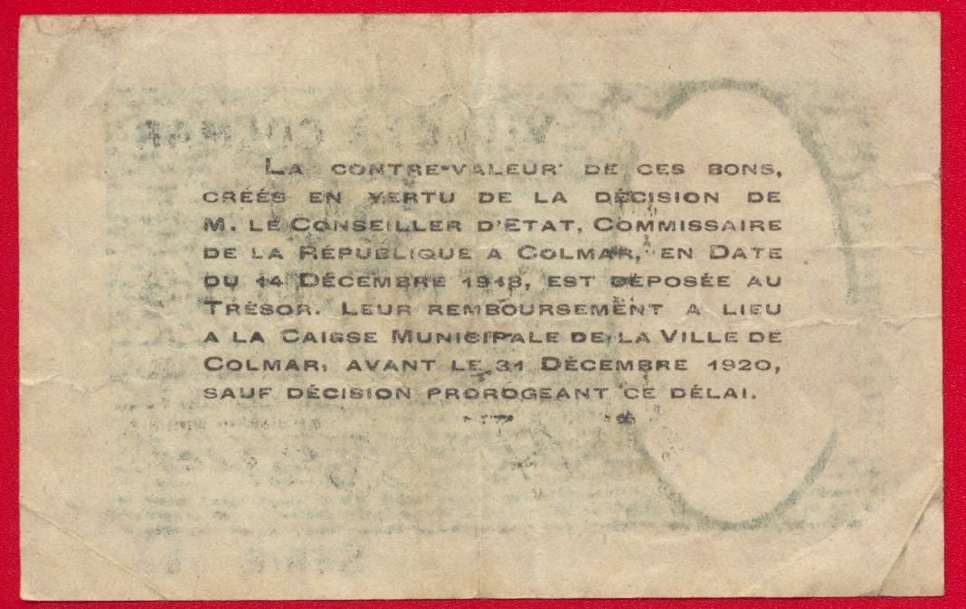 Colmar 50 centimes 1918 fdcollector for Chambre de commerce martinique
