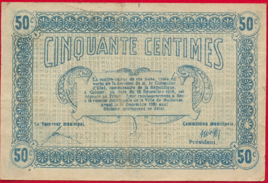 Mulhouse 50 centimes 1918 fdcollector - Chambre des commerces mulhouse ...