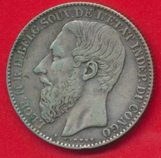 congo-leopold-belgique-etat-independant-1891-2-francs-vs