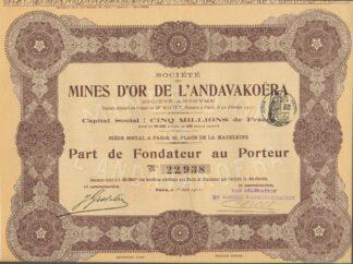 societe-mines-or-andavakoera-cinq-millions-francs-part-fondateur-porteur-1911