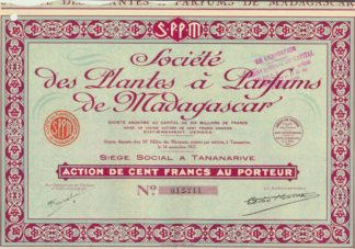 societe-plantes-parfums-madagascar-action-cent-francs-porteur-1927