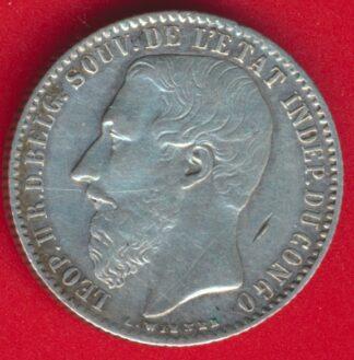 congo-belge-etat-independant-1-franc-1891-leopold-vs