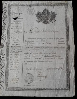 passe-port-interieur-police-royaume-charles--bergerac-1830-dordogne