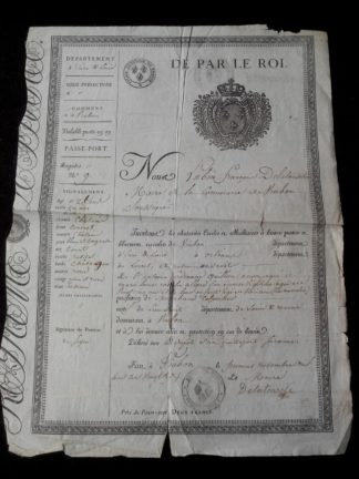 passe-port-interieur-roi-louis-xviii-eure-loir-1827-viabon