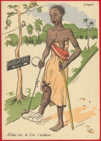 cpa-fantaisie-colonialisme-huguet-aide-toi-ciel-aidera