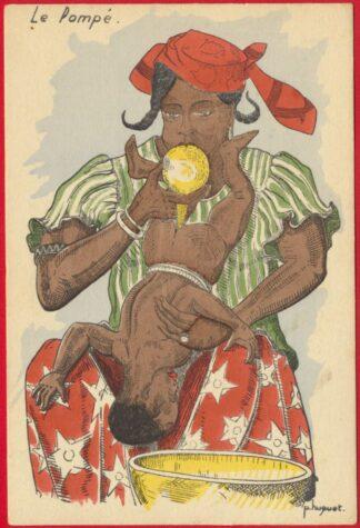 cpa-fantaisie-colonialisme-huguet-pompe