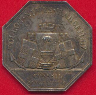 medaille-jeton-argent-compagnie-anonyme-eclairage-gaz-1840-toulon-nimes-marseille