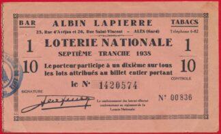 ticket-loterie-nationale-albin-lapierre-tranche-1938-ales-gard