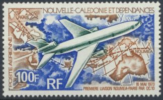 nouvelle-caledonie-poste-aerienne-premiere-liaison-noumea-paris-100-francs-1973