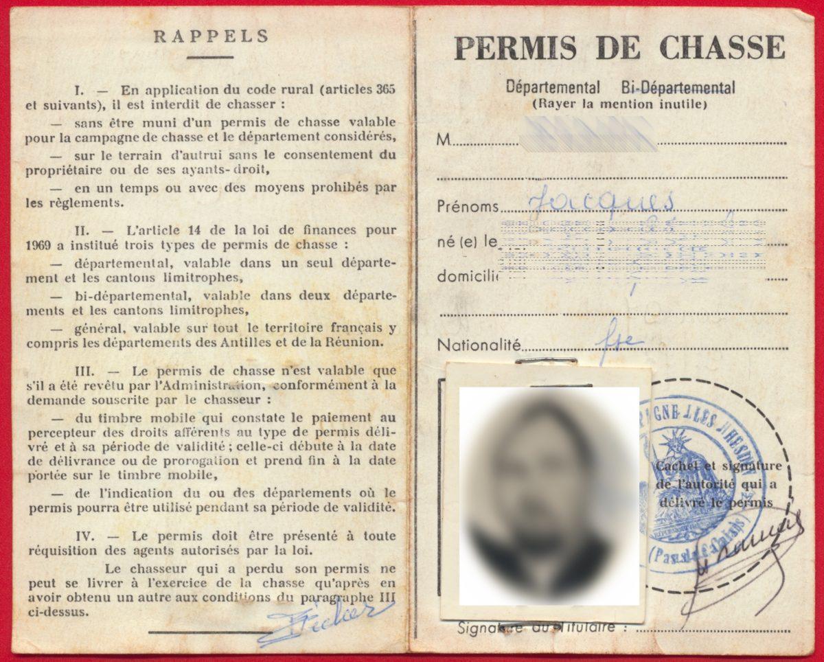 Permis De Chasse Permis Departemental 1974 1975 Sur Document