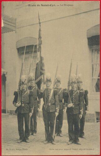 cpa-ecole-saint-cyr-drapeau-officier