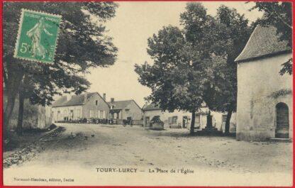 cpa-toury-lurcy-place-eglise