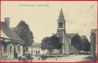 cpa-villabon-cher-place-eglise-automobile