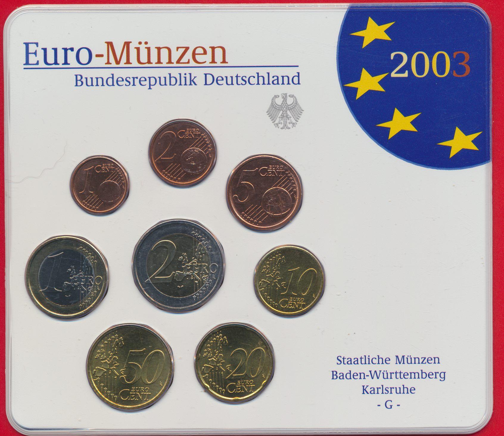 Allemagne Euro Münzen 2003 G Fdcollector