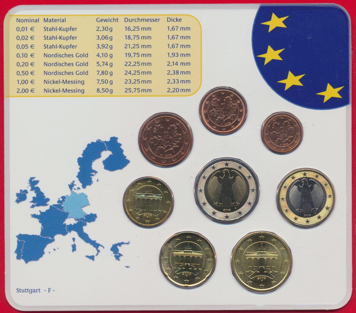 Allemagne Euro Münzen 2003 A Fdcollector