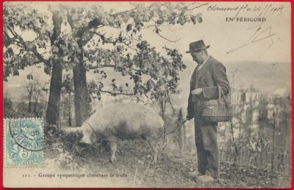 cpa-en-perigord-groupe-sympathique-cherchant-truffe