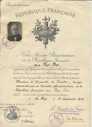 passeport-republique-francaise-pays-bas-diplomatique--1939