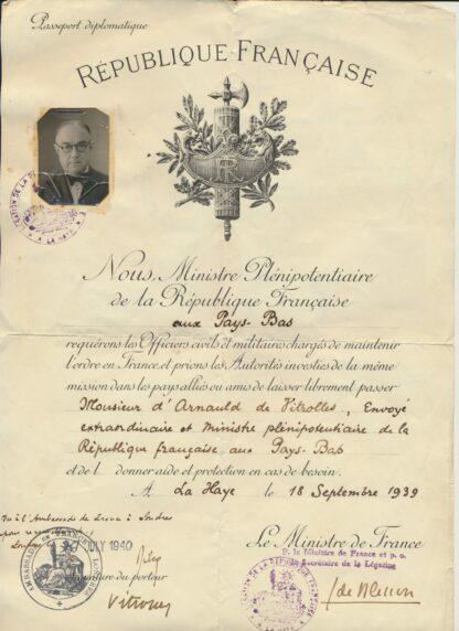 passeport-republique-francaise-pays-bas-diplomatique--1939