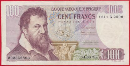belgique-100-francs-4-6-1970-2800-vs