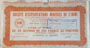 societe-exploitation-minieres-mines-inini-250-francs-25-actions