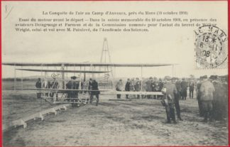 cpa-conquete-air-auvours-lemans-1908-delagrange-farman-wilbur-wright-painleve