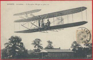cpa-conquete-air-auvours-lemans-1908-wilbur-wright--aeroplane-plein-vol