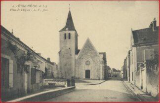 cpa-etriche-place-eglise